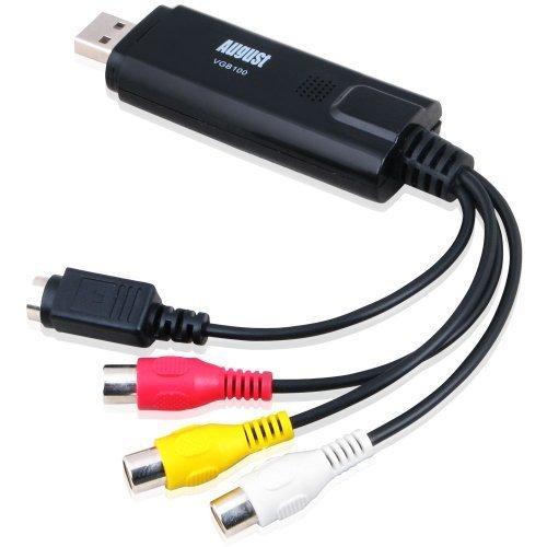 August VGB100 Enregistreur Convertisseur de Vidéo/Audio – Carte de Capture Vidéo USB 2.0 – Câble de Transfert S-Vidéo/RGB à USB – Compatible avec Windows 7 / Vista / XP