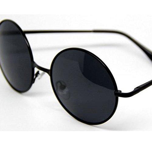 HelloKiti Unisex Round Retro Small Frame Personality Popular Sunglasses(C1)