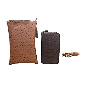 Jo Jo A7 Zara Sr Croc Leather Wallet sling Bag clutch Pouch Mobile Phone Case Cover For Adcom Thunder A430 Dark Brown