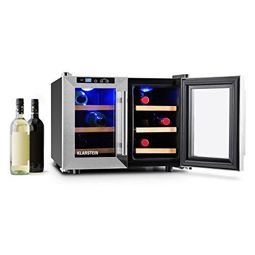 Klarstein Reserva Saloon Cantinetta Frigo Vino 12 Bottiglie 40 Litri Acciaio LED