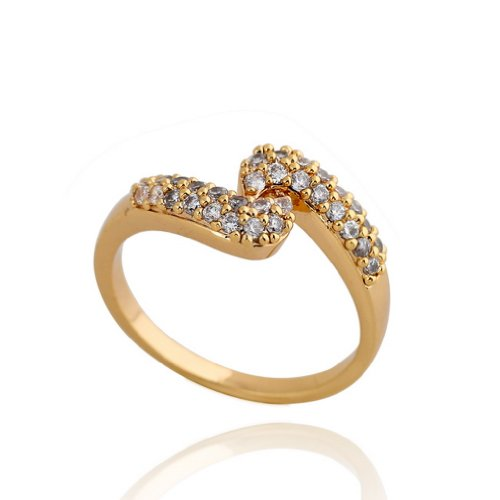 C-Princessリング 指輪 ring 18Kゴールドメッキ コーティン ラインストーン レディース 女性 アクセサリー ジュエリー ウェディング エンゲージリング 記念日 (14)