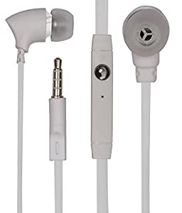 JKOBI 3.5mm In Ear Bud Handsfree Headset Earphones With MIC For Micromax Canvas Knight Cameo A290 With 3.5mm Jack-WHITE