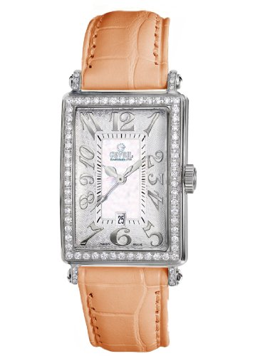 Gevril Women's 7249NV.79 White Mother-of-Pearl Genuine Alligator Strap Watch