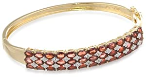 """Yellow Gold-Plated Sterling Silver Garnet and Diamond Accent Bangle Bracelet, 7.5"""""""