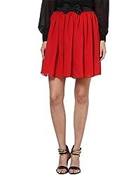 Besiva high waist gathered bow black skirt