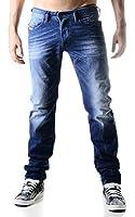 Diesel Homme Belther 0838 Regular Slim Tapered Jeans, Bleu