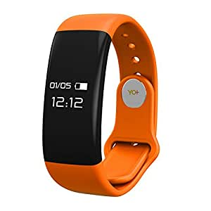 YOSUUM H30 Smart Wristband OLED touch screen Display Bluetooth 4.0 Heart Rate Monitor Sleep Fitness Tracker for Android iOS (Orange)