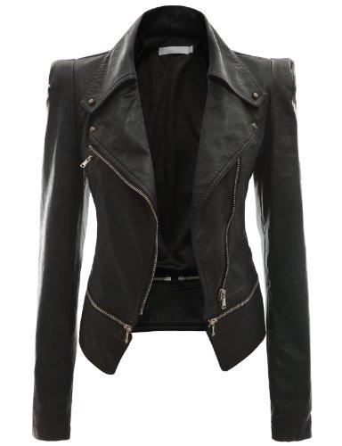 Doublju Women's Faux Leather Rider Moto Jackets Black 3XL