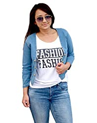 Aarti Collections Stylish 3/4 Sleeve Light Blue Denim Jacket for Women
