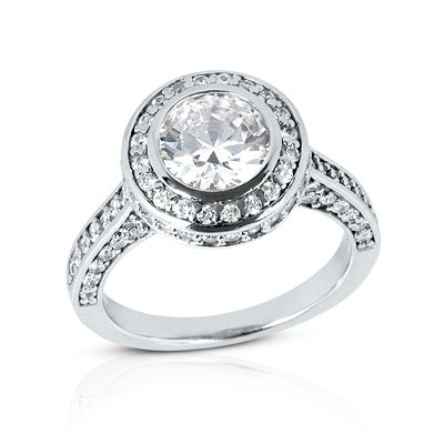 1.50 Ct Diamond Engagement Ring Solitaire Round Cut Bezel Pave Style SI3 H