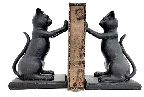 "Hi Five Black Cat Bookends Playful Cats Book Ends (Pair) 8"" Inches"