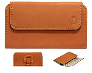 Jo Jo A4 Nillofer Belt Case Mobile Leather Carry Pouch Holder Cover Clip For SHP Elite x3 Orange