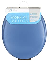 Ginsey Home Solutions Soft Toilet Seat - Padded for Extra Comfort - For Standard Toilets - Includes All Necessary Components for Installation - Smoke Blue