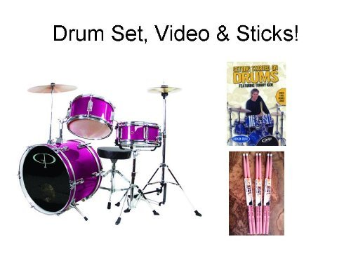 Gp50 Child Size Junior Drum Set (Package) With Seat, Sticks & Cymbals - Pink - Includes Free Hal Leonard How To Play Drums Video And 3 Pair Of Pink Sticks!