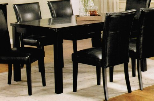 Dining Table With Black Faux Marble Top In Black Finish