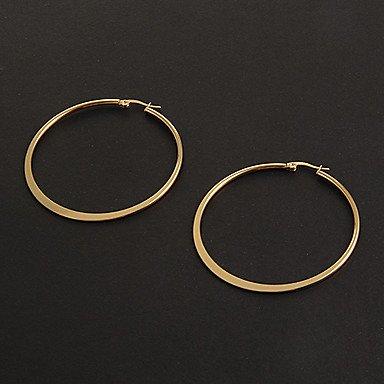 Mode einfachen 5.0CM flache Form Goldene Creolen Edelstahl (1 Paar)