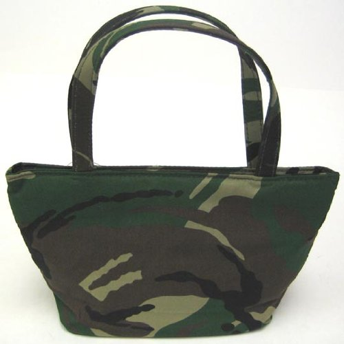 Green Camouflage Canvas Evening Bag Mini Purse