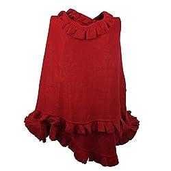Luxury Women Ruffle Edge Poncho Knitted Shawl Premium Lady Soft Knit Cape Jacket Fashion Scarf Stretchy Wrap Over Solid Color Girl Large Shawl Elegant Cloak Warmer - Crimson