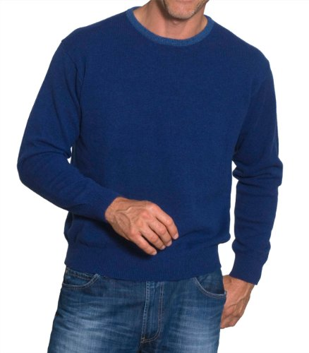 Mens Lambswool Trimmed Crew Neck Jumper Marine/Seafront Small