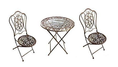 GMMH table et 4 chaises de jardin en fer style antique doré/marron lN1712,1713 métal
