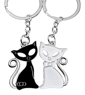 2 Porte-clés, bijoux de sac, motif chats blanc et noir, couple.
