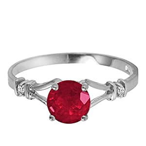 1.02 CTW 14k Solid White Gold Ring with Natural Ruby and Diamonds - Size 8.5
