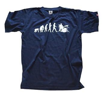 Shirtzshop Erwachsene T-Shirt Original Drummer Schlagzeuger Evolution, Navy, S, sshop-evodrum-t