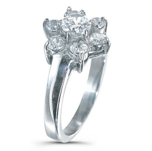 Engagement Ring - Stainless Steel with 6 CZ Stone Flower Design - 8