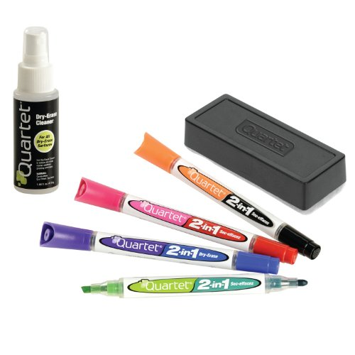 Quartet 2-in-1 Dry-Erase Marker Starter Kit, Chisel/Fine Tip, Assorted Colors, Eraser & Cleaner Included (79549A) (Dry Erase Marker Starter Kit compare prices)