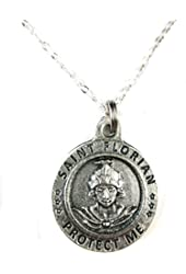 "VP&P Silver Tone St Florian / Firefighter Medal Pendant Necklace 20"" Chain"