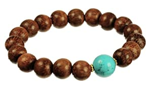 Vermeil Wood Beads and Turquoise Accent Rondell Stretch Bracelet, 7.5""