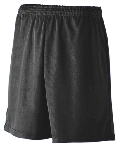 Augusta Sportswear Youth Mini Mesh League Short, Black, Large front-1038138
