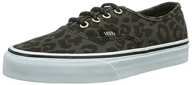 Vans U Authentic, Baskets mode mixte adulte - Noir (Leopard/Black), 35 EU