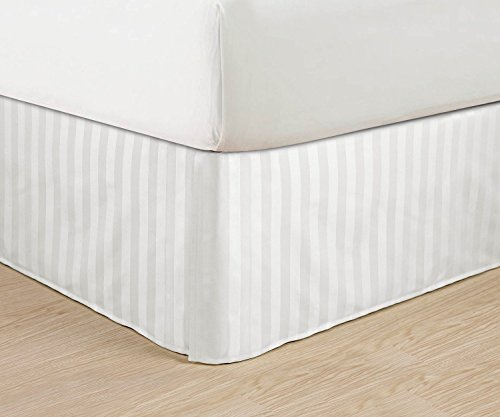"""Luxurious Egyptian Quality Weave Stripe Bed Skirt - Pleated Tailored 14"""" Drop - All Sizes And Colors , California King, White front-1012347"""