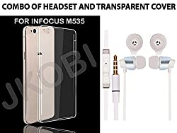 Jkobi Value Combo Of Soft Transparent Clear TPU Back Case Cover And In Ear Bud Earphones Mini Size Headset For InFocus M535 -White