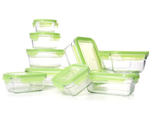 Glasslock Snapware Tempered Glass Food Storage Containers with Lids 18 Piece Set