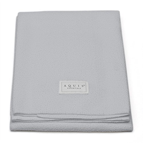 Aquis Lisse Crepe Microfiber Professional Long Hair Drying Towel (19 x 44 Inches) - Light Grey (Crepe Hair Grey compare prices)