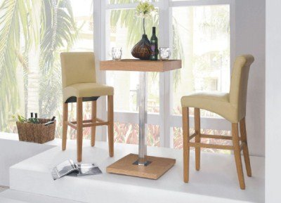Gresily Square Oak Bar Table and 2 Leather Padded Stools