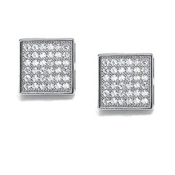 Bling Jewelry Mens Sterling Silver Micro Pave CZ Square Stud Earrings 5mm