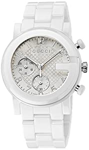 Gucci Men's YA101353 Gucci G - Chrono Collection Analog Display Swiss Quartz White Watch
