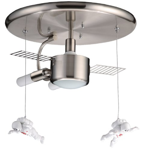 TP24 Wellington Space Station Light Fitting in Satin Silver/Acrylic Finish