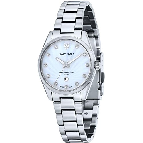 Swiss Eagle 316L Solid Marine Grade Stainless Steel Metal Bracelet with White Dial Swiss Made ISA K83/103 Movement Women's Date Window with 3 Hands Analog Watch SE-6048-22