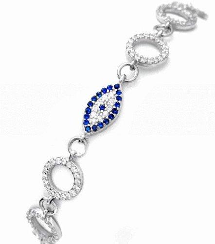 Celebrity inspired evil eye bracelet with diamon simulated white cz and black cz stones