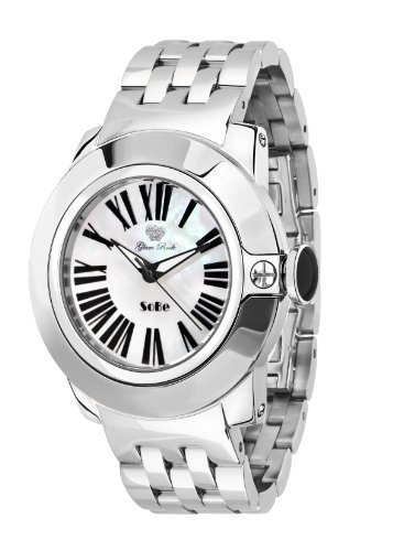 Glam Rock Unisex Quartz Watch with White Dial Analogue Display and Silver Stainless Steel Bracelet 0.96.2819