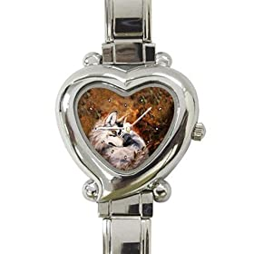 Limited Edition Violano Italian Charm Heart Watch Autumn Wolf Wildlife: Watches