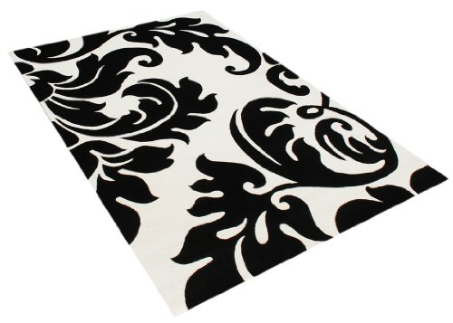 ZnZ Rugs Gallery, 100094_5x8, Handmade Off-White New Zealand Blend Wool Rug, 1, Black, 5x8'