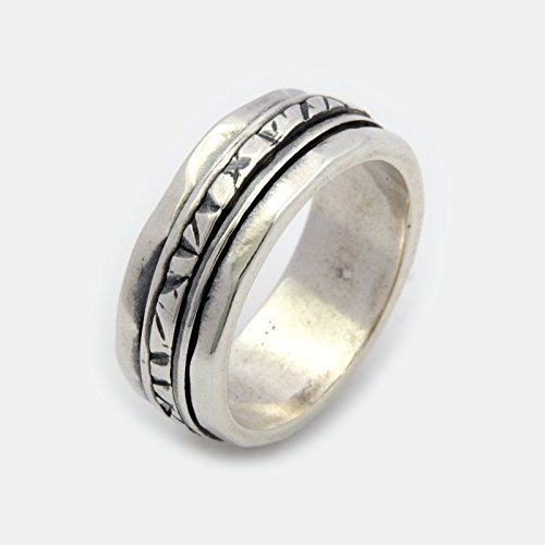 Sterling Silver Rustic Pattern spinner ring for men and women sizes 6 to 9 (Ebay Sterling Silver compare prices)