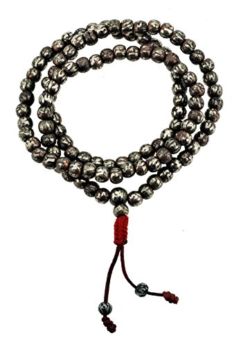Tibetan 7mm Om Mani Padme Hum Etched 108 Prayer Beads Necklace Mala (Plain)