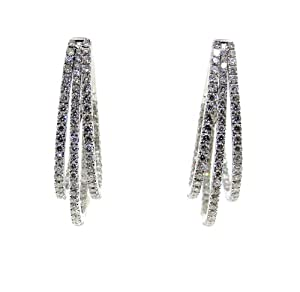 18k Solid White Gold Diamond Hoop Style Earrings ( DIA 2.19 Ct) Vs-f 150-0083