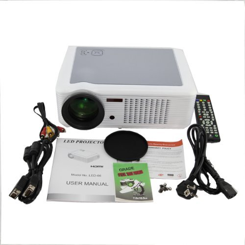 HTP Led-66 Hd 1080p Lcd Projector Led Home Theatre Av Vga Hdmi Sd Usb Tv S-video Ps3 Wii (White)